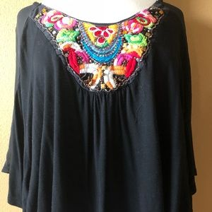 Black Embroidered Flowy Top